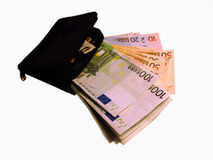 Earn together with us! (Purse and cash) 2. Purse and cash Stock Photo