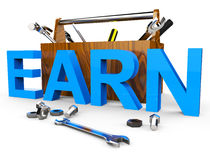 Earn Word Means Wage Recruitment And Hire Royalty Free Stock Photography