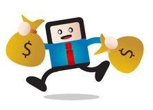 Earning. Illustration of cartoon businessman happy earning money Stock Images