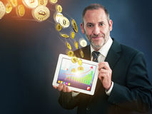Earning Bitcoins Royalty Free Stock Photos