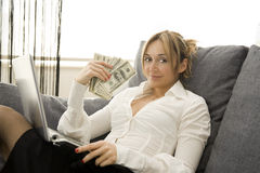 Earning with comfort Royalty Free Stock Image