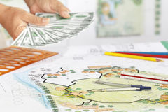 Earning for design landscape plan. Royalty Free Stock Image