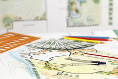 Earning for design landscape plan. Or any other project Royalty Free Stock Photography