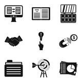 Earning icons set, simple style Stock Photos