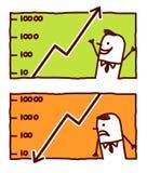 Earning & losing money. Vector hand drawn cartoon characters Stock Photos