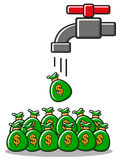 Earning money from. Cartoon money created by  drop like water Stock Images