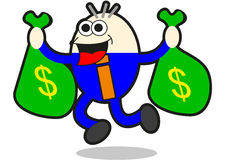 Earning money. Illustration of businessman earning money describe with cartoon style Stock Image