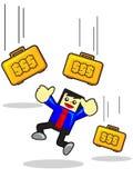 Earning money. Illustration of funny cartoon businessman character earning money Stock Image
