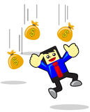 Earning money. Illustration of funny businessman get earning money with cartoon style Stock Image
