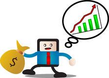 Earning money. Illustration of cartoon businessman success earning money Stock Images