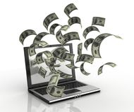 Earning money over the internet. 3d concept - dollars running out of computer Stock Image
