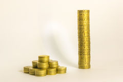 Earning moneys. Yellow coins in different layout with white background Stock Images