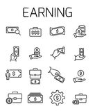 Earning related vector icon set. Well-crafted sign in thin line style with editable stroke. Vector symbols isolated on a white background. Simple pictograms Stock Photography