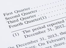 Earning report by quarter. In the annual report Stock Photo