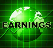 Earnings Graph Indicates Earns Incomes And Infochart Stock Photo