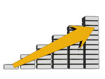 Earnings growth. The yellow arrow shows growth of incomes Royalty Free Stock Image