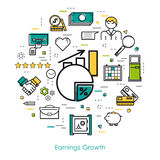 Earnings growth - Line Art. Vector round concept of earnings growth or financial statistic in thin line art style. Chart with arrow up, businessman, devices and Stock Image