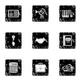 Earnings icons set, grunge style Stock Photos