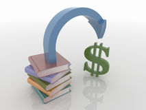 Earnings From Knowledge, 3D Render. Abstract 3D design of a stack of books with an arrow pointing to money. Rendered against a white background, with shadows and Stock Image