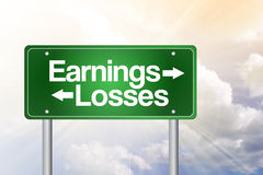 Earnings, Losses Green Road Sign. Business concept Royalty Free Stock Photography