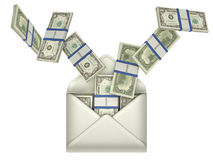 Earnings and money transfer - dollars in envelope Stock Photos