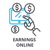 Earnings online thin line icon, sign, symbol, illustation, linear concept, vector. Earnings online thin line icon, sign, symbol, illustation, linear concept Stock Photography