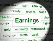Earnings Revenue Indicates Wage Incomes And Employed Royalty Free Stock Photography