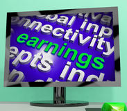 Earnings Screen Shows Wage Prosperity Career Revenue And Income Imagen de archivo libre de regalías