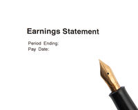 Earnings statement Stock Photography