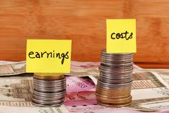Earnings vs costs. Concept shot of earnings vs costs stock images