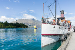 Earnslaw docked at Queenstown's Lake Wakatipu. Royalty Free Stock Photo