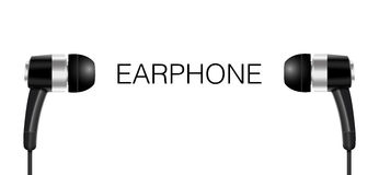 Earphone Black color Vector Royalty Free Stock Image