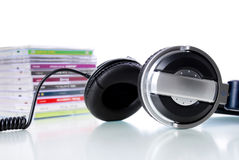 Earphone and cds Royalty Free Stock Image