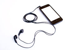 Earphone and handphone Stock Photo