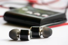 Earphone, music, earphone with mp3 player. royalty free stock photography