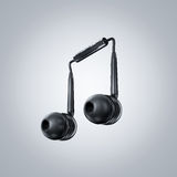 Earphone in musical note shape Stock Image