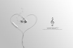 Earphone in shape of heart. on white with clipping path Stock Photography