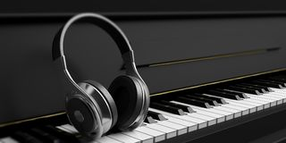 Earphones on a black piano. 3d illustration Royalty Free Stock Photos
