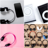 Earphones collage Royalty Free Stock Photo