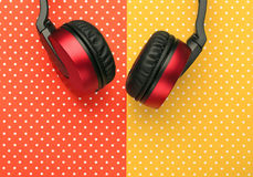 Earphones with colorful topped background stock photos