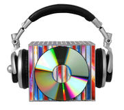 Earphones and compact discs. Headphones and compact  discs isolated on white background Royalty Free Stock Image