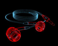 Earphones (3D xray red and blue transparent) Royalty Free Stock Photography