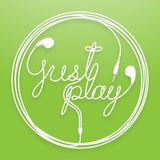 Earphones, Earbud type white color and just play text with circle frame made from cable. Isolated on green gradient background, with copy space Stock Photography