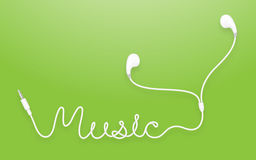 Earphones, Earbud type white color and music text Royalty Free Stock Photos