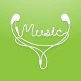 Earphones, Earbud type white color and music text Stock Photos