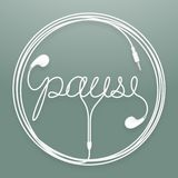 Earphones, Earbud type white color and pause text with circle fr. Ame made from cable isolated on dark green gradient background, with copy space Stock Photos