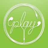 Earphones, Earbud type white color and play text with circle frame made from cable. Isolated on green gradient background, with copy space Stock Images