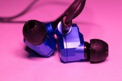 Earphones and headphones technology. Earphones and headphones stock images