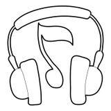 Earphones icon, outline style Stock Photo