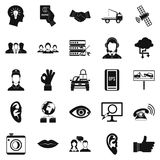Earphones icons set, simple style Royalty Free Stock Images